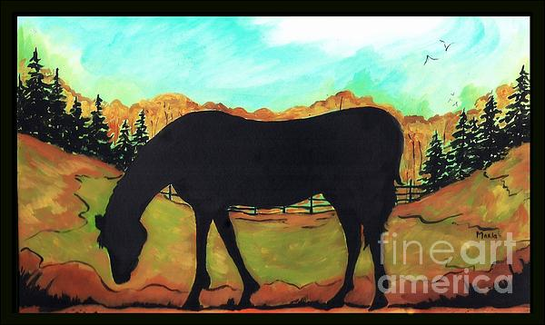 Horse Tail Trail Silhouette Print by MarLa Hoover