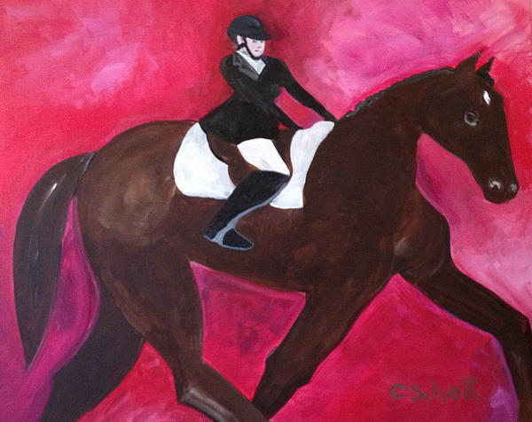 Horse With Rider Print by Christina Schott