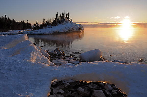 Horseshoe Bay Island Sunrise At Minus 20 Print by Sandra Updyke