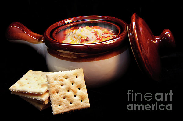 Hot Chili With Cheese And Crackers Print by Andee Design