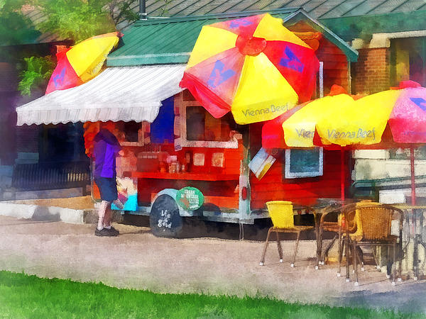Hot Dog Stand In Mall Print by Susan Savad