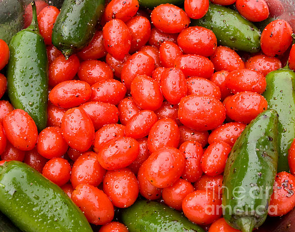 Hot Peppers And Cherry Tomatoes Print by James BO  Insogna
