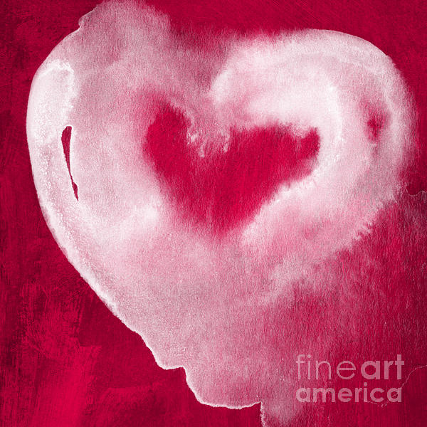Hot Pink Heart Print by Linda Woods