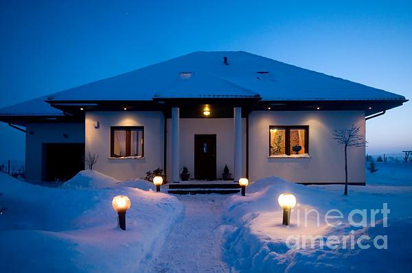 House In Winter Print by Michal Bednarek