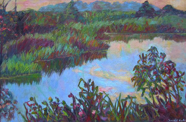 Huckleberry Line Trail Rain Pond Print by Kendall Kessler
