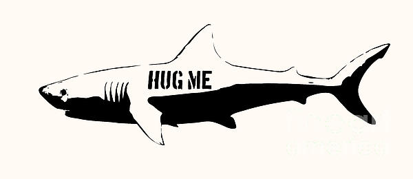 Hug Me Shark - Black  Print by Pixel  Chimp