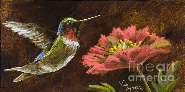 Hummingbird With Gold Leaf By Vic Mastis Print by Vic  Mastis