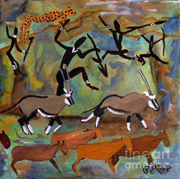 Hunters And Gemsbok Rock Art Print by Caroline Street
