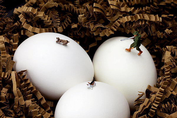 Hunting In Nest Little People On Food Print by Paul Ge