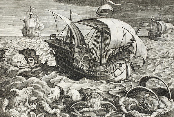 Hunting Sea Creatures Print by Jan Van Der Straet