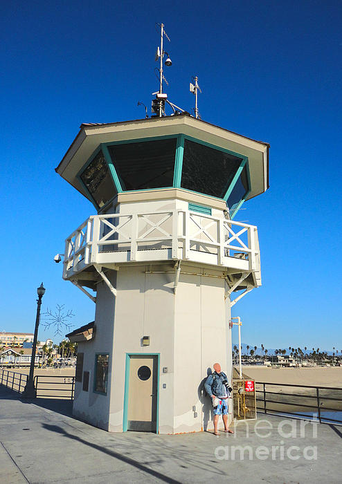 Huntington Beach Pier Lifeguard Tower Print by Gregory Dyer