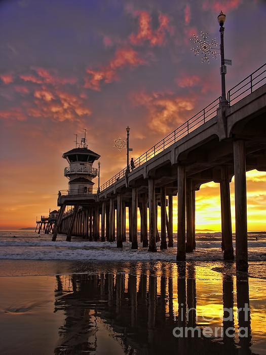 Huntington Beach Pier Print by Peggy J Hughes