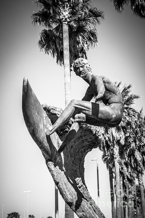 Huntington Beach Surfer Statue Black And White Picture Print by Paul Velgos