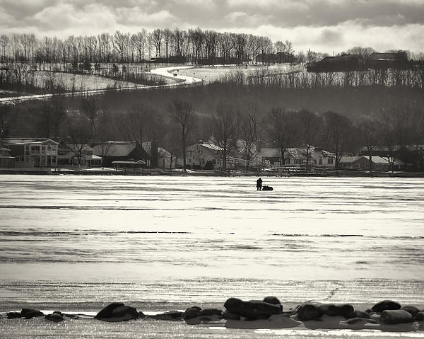 Ice Fisherman On Canandaigua Lake 2010 Print by Joseph Duba