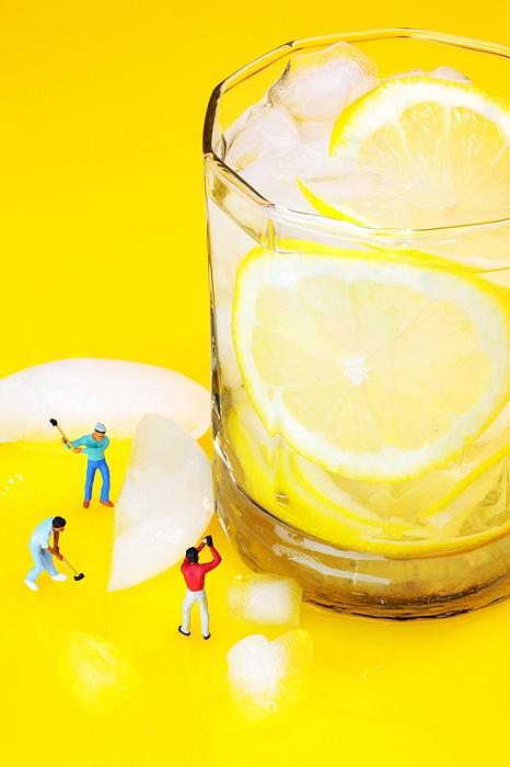 Ice Making For Lemonade Little People On Food Print by Paul Ge
