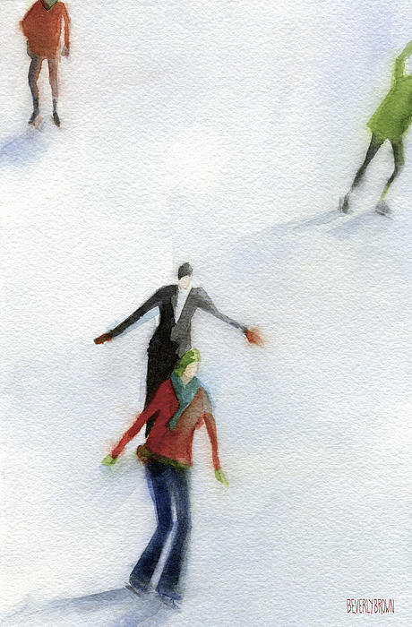 Ice Skaters Watercolor Painting Print by Beverly Brown Prints