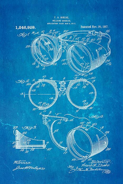 Ihrcke Welding Goggles Patent Art 1917 Blueprint Print by Ian Monk