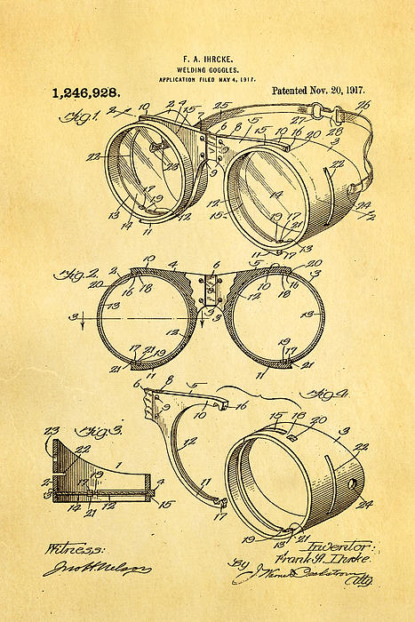 Ihrcke Welding Goggles Patent Art 1917 Print by Ian Monk