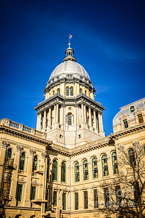Illinois State Capitol In Springfield Illinois Print by Paul Velgos