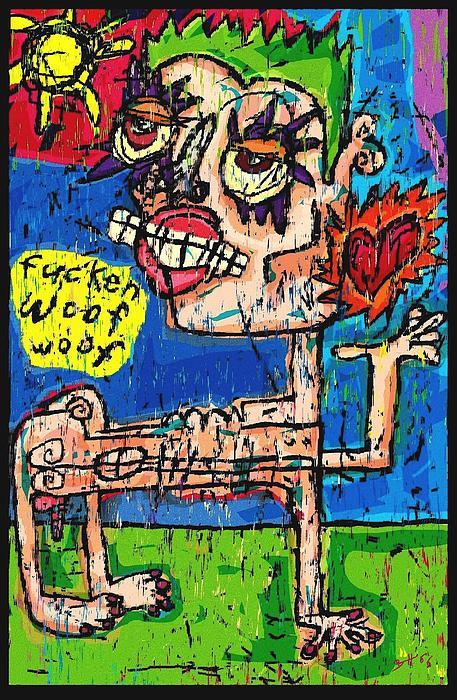 Im A Dog. Fuken Woof. Woof. Print by Brett Sixtysix