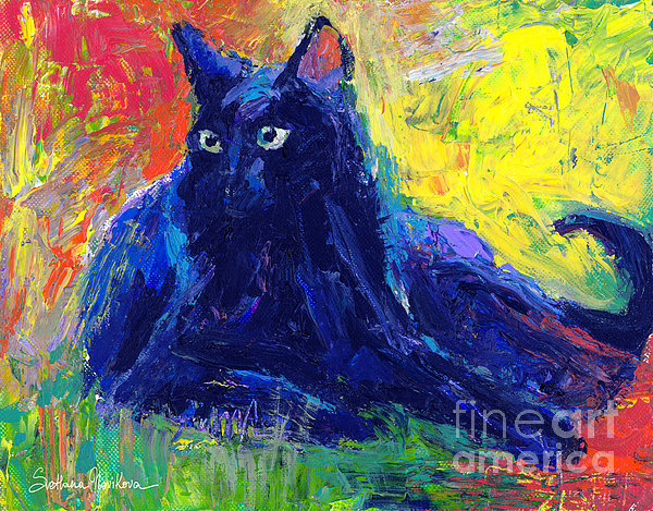 Impasto Black Cat Painting Print by Svetlana Novikova