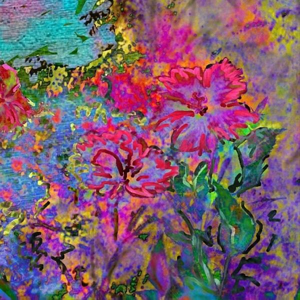 Impressionistic Magenta Hibiscus - Square Print by Lyn Voytershark