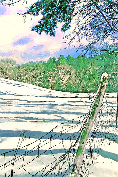 Impressions Of A Snow Covered Farm Print by John Haldane