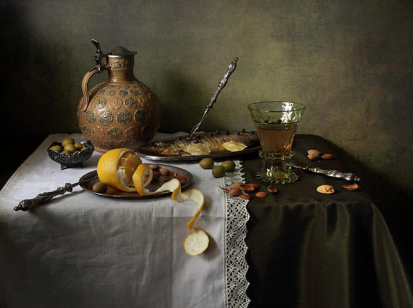 In Olive Tones  Print by Helen Tatulyan