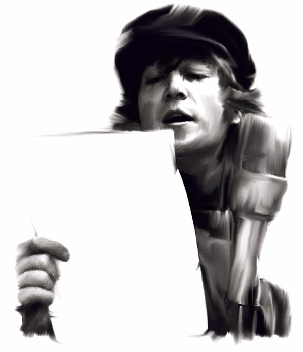 In Studio John Lennon Print by Iconic Images Art Gallery David Pucciarelli
