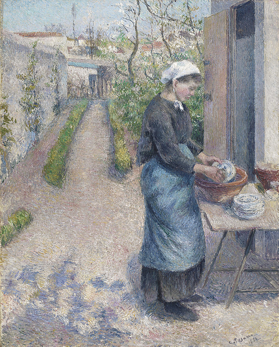 In The Garden At Pontoise A Young Woman By Camille Pissarro