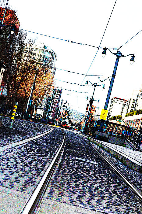 In The Path Of A Cable Car Print by Holly Blunkall