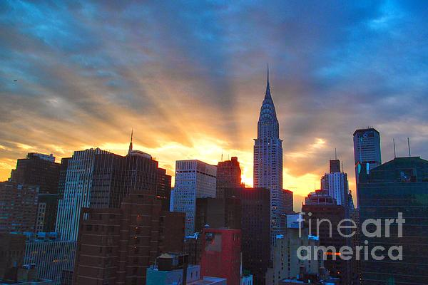Incredible New York Skyline Sunset Print by Miriam Danar