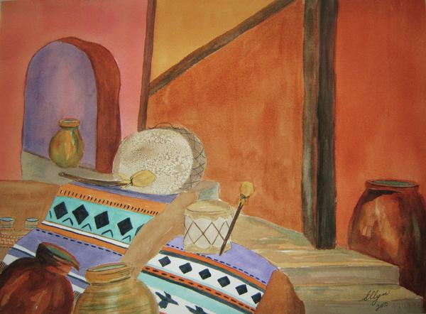 Indian Blankets Jars And Drums Print by Ellen Levinson