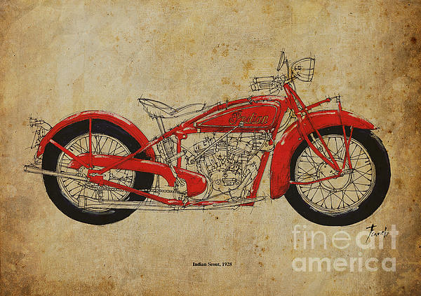 Indian Scout 1928 Print by Pablo Franchi