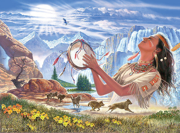 Indian Squaw And The Wolves Print by Steve Crisp