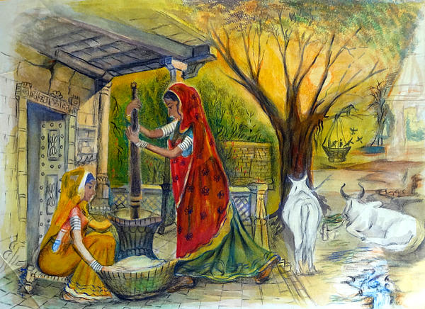 Village Life Paintings Easy Indian Village Life - ...