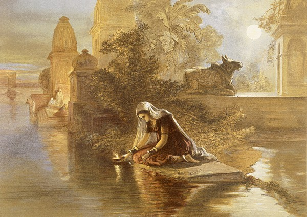 Indian Woman Floating Lamps Print by William 'Crimea' Simpson