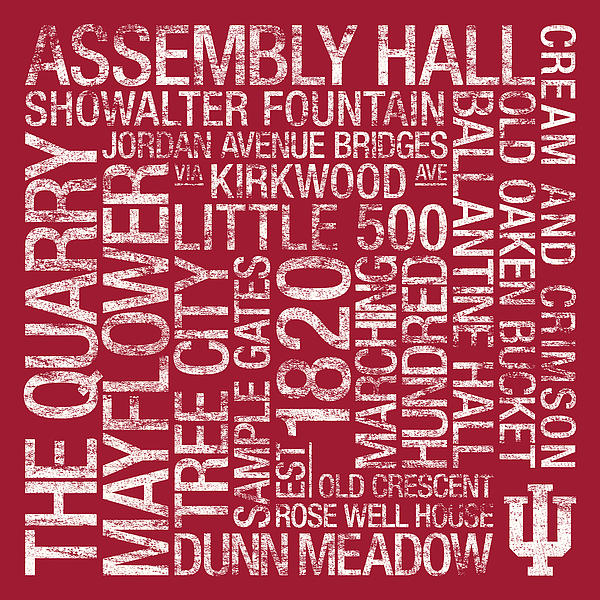 Indiana College Colors Subway Art Print by Replay Photos