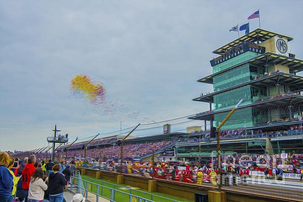 Indianapolis 500 May 2013 Balloons Race Start Print by David Haskett