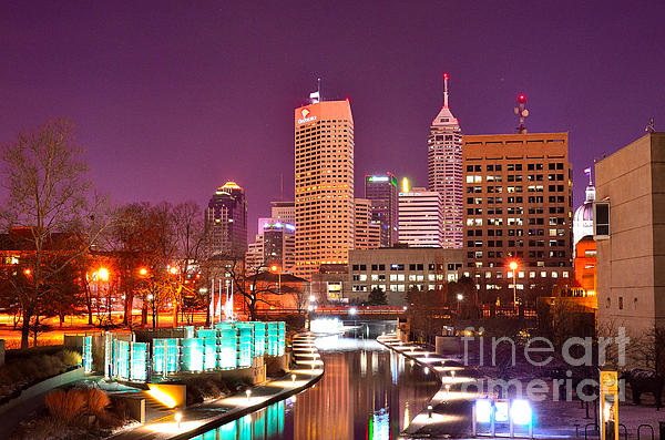 Indianapolis Skyline 200 Print by David Haskett