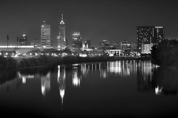Indianapolis Skyline At Night Indy Downtown Black And White Bw Panorama Print by Jon Holiday