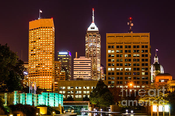 Indianapolis Skyline At Night Picture Print by Paul Velgos