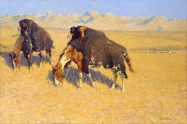 Indians Simulating Buffalo Print by Fredrick Remington
