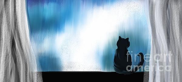 Indoor Cat Print by Hilda Lechuga
