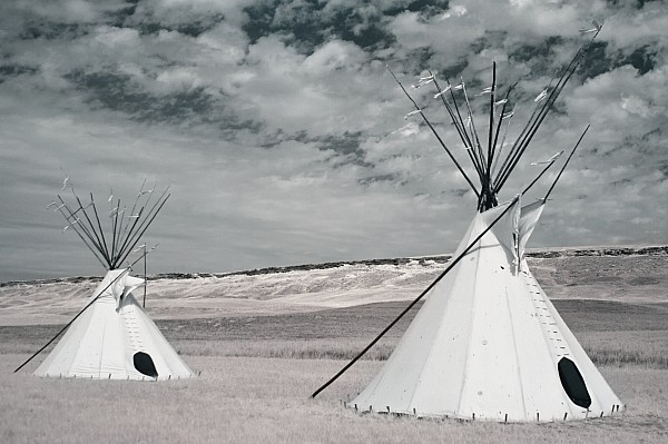 Infrared Image Of Native American Tipis Print by Roberta Murray