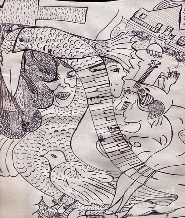 Ink Art To Color 3 Print by Lois Picasso