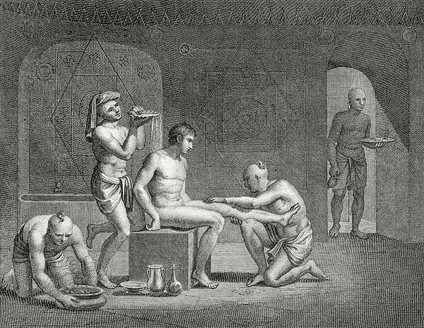 Inside An Egyptian Bathhouse, C.1820s Print by Dominique Vivant Denon