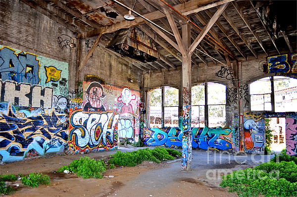 Inside The Old Train Roundhouse At Bayshore Near San Francisco And The Cow Palace II Print by Jim Fitzpatrick
