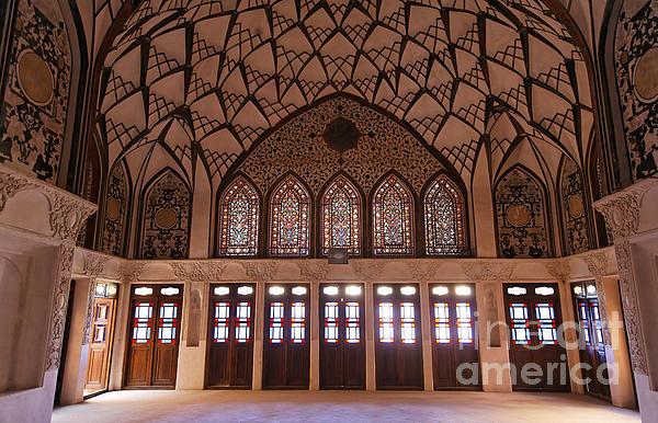 Interior At The Tabatabiyeh Traditional Merchants Residence At Kashan In Iran Print by Robert Preston