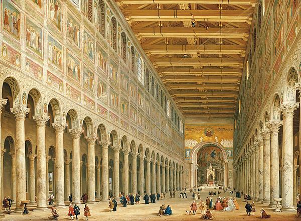 Interior Of San Paolo Fuori Le Mura Print by Giovanni Paolo Panini